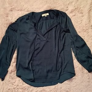 Blueish green silky professional blouse